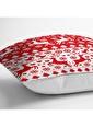 Real Homes Kırmızı Beyaz Yılbaşı Geyikleri Dijital Baskılı Yastık Kırlent Kılıfı Renkli